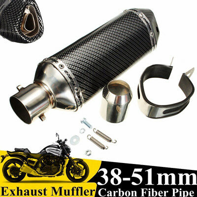 Motorcycle Motorbike 38-51mm Exhaust Muffler Tail Vent Pipe Slip On Dual Outlet