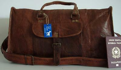 """Handmade Goat Leather 18"""" SMALL Duffel DS Sport Gym Cabin Bag Billy Goat Designs"""