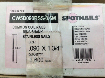 """Spotnails Common Coil Nails Stainless .090 x 1-3/4"""" 3,600ct. CW5D090RSS-3.6M"""