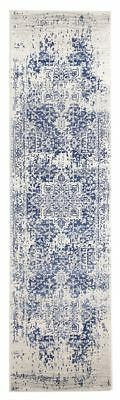 Hallway Runner Hall Rug Traditional Persian White Navy 300 cm Long Floor Rug