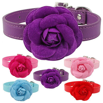 Cute Big Flower Studded Dog Collars PU Leather for Girly Pet Puppy Cat Chihuahua