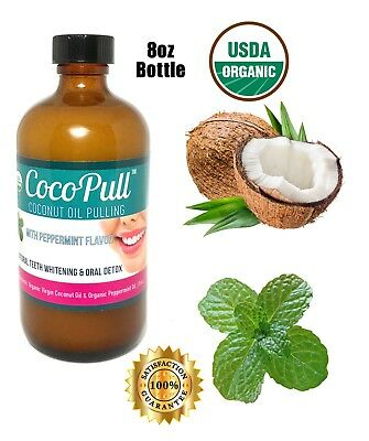 Coconut Oil Pulling Rinse Mouthwash 8oz- Teeth Whitening & Oral Care by Cocopull