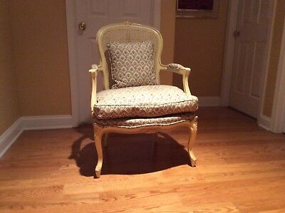 Vintage Bergere Chair French Louis XV Style cane back floral feather down seat