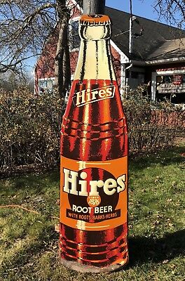 RARE Vintage 40's Original HIRES Root Beer Tin Embossed Die Cut Bottle Sign 57""