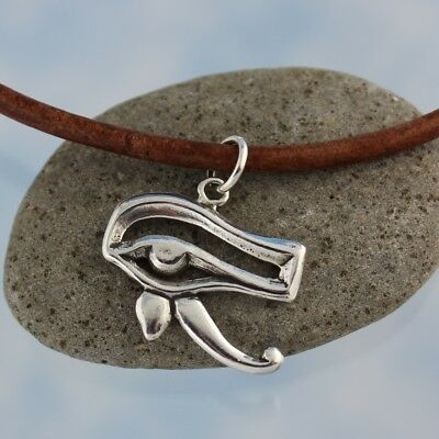 Eye of Horus Necklace- Sterling Silver Egyptian Protection Amulet, Leather Cord