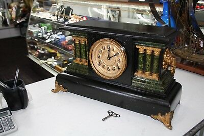 Antique E.n. Welch Mfg & Co 8 Day 1/2-Hr Strike Mantle Clock With Key (Working).