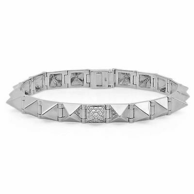 a29f792a0 Large with One Diamond 7mm Spike Bracelet 14K White Gold Punk Rock Gothic