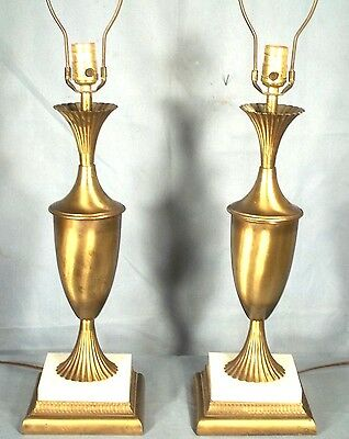 Pair Of Mid Century Modern Adams Style Classical Regency Fluted Brass Urn Lamps