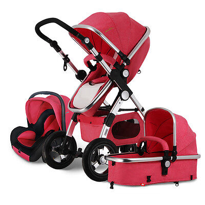 New 3 in 1 Baby Stroller High View Pram Car Seat jogger Carriage pushchair
