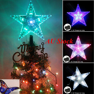 AU 8 Mode 31LED Christmas Tree Top Star Flash Light Outdoor Lamp Waterproof Deco