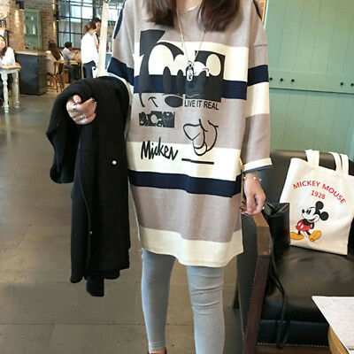 Autumn Winter Maternity Pregnancy Casual Loose Tunic T Shirt Tops Striped Dress