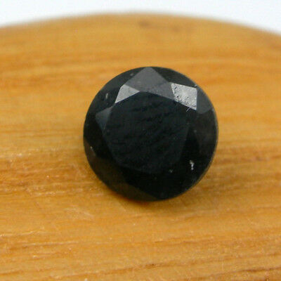 Rare Size 6.30mm Round Cut Black Color Natural Sapphire Loose Gemstone, 1.22ct