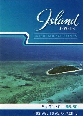 2007 ISLAND JEWELS GREEN IS. AUST INTERNATIONAL STAMP BOOKLET 5 x $1.30 STAMPS