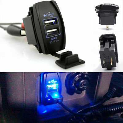 Universal 2Port Dual USB Car Charger 2in1 Adapter LED Display For iphone Android