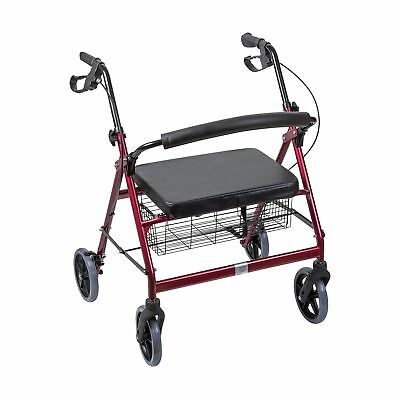 DMI Extra-Wide Heavy Duty Steel Bariatric Rollator Walker with Seat and Baske...