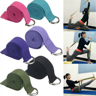 Blend Cotton Yoga Stretching Strap D-Ring Belt 180 cm Waist Leg Fitness Exercise