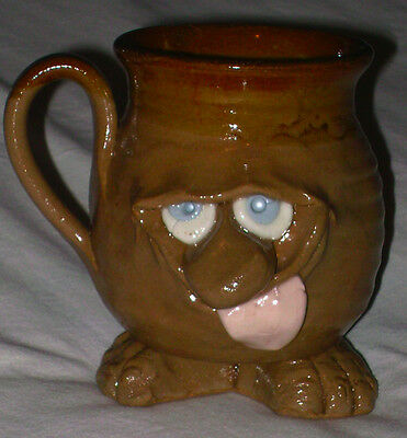 Vintage 3D Stoneware Art Pottery Hand Crafted Funny Face Mug w/ Feet