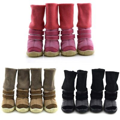 US 4PCS Pet Dog Winter Snow Boots Puppy Anti-slip Warm Shoes Sneakers Booties
