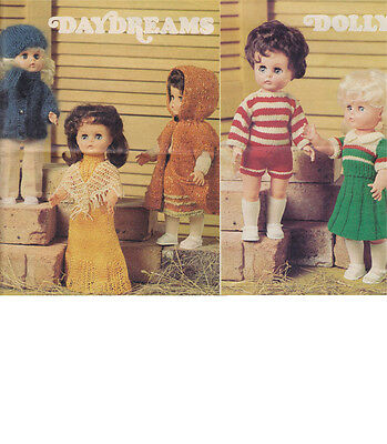 """Vintage Knitting Pattern  Copy - To Knit 5 Outfits  For 13 """" Dolls"""