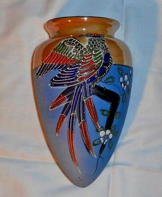 Vintage Wall Pocket Vase Moriage Bird Luster Porcelain Japan
