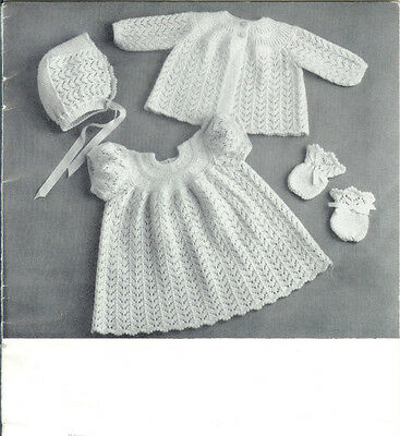 Vintage Knitting  Pattern Copy - To Knit A Baby's Outfit -  Pretty In Lace