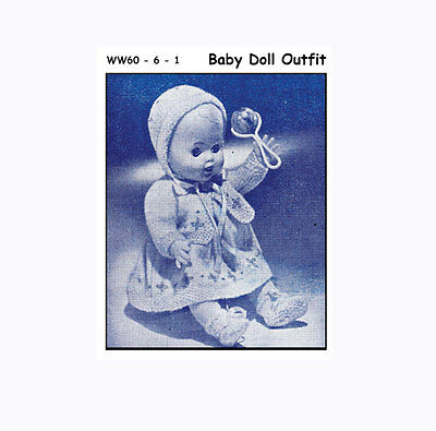 """Vintage Knitting Pattern Copy - Knit An Outfit For A 10.5"""" Baby Doll - 1960"""