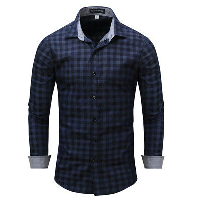 New Luxury Check Cotton Men's Navy blue Casual Long Sleeve Dress Shirts XT408