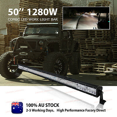 "CREE 1280W 50"" FLOOD SPOT LED Work Light Bar Offroad Driving Lamp 4WD Truck JEEP"