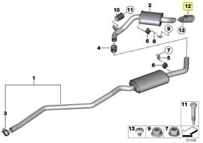 BMW Genuine Exhaust Tailpipe Tip Trim Aluminium 1 Series X1 18307803692