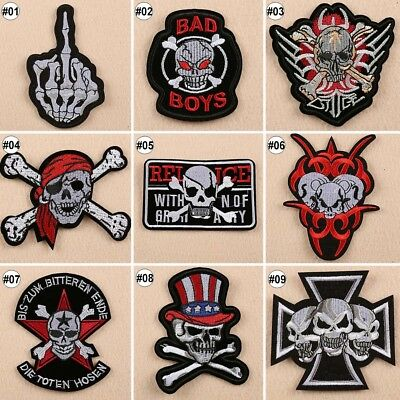 1/10PCS Skulls Badge Iron On Patches Embroidered Clothes Applique Trim 9 Designs