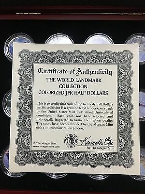 Morgan Mint World Landmark Collection 12 x coloured USA half dollars (3222924C9)
