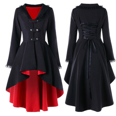 Victorian Style Women Ladies Elegant Slim Long Coat Jacket Retro Out-Coat Jacket