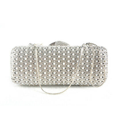 New Women Lady Clutch Bag Wedding Pearl Bead Party Bridal Handbag Evening Purse