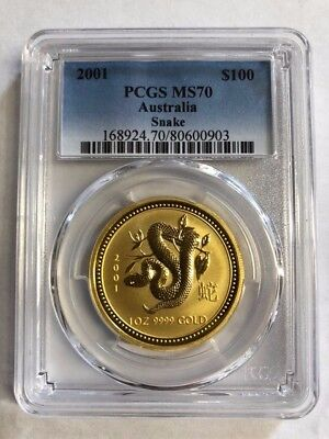 2001 AUSTRALIA Lunar Year of the SNAKE PCGS  MS 70  1 OZ .9999 GOLD