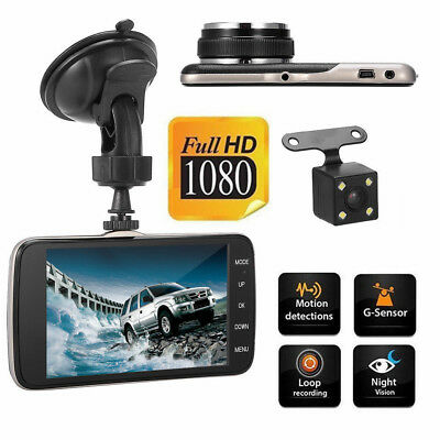 "4"" Dual Lens Autokamera Full HD 1080P Car DVR Video Recorder Rearview Dash Cam"