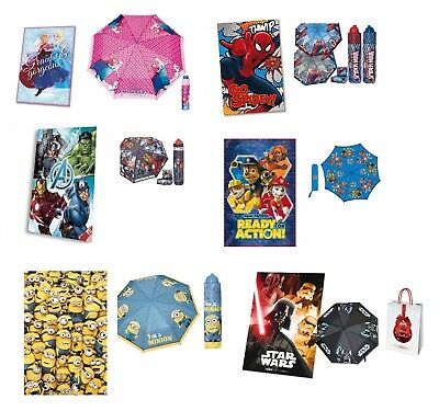 Set Mini Ombrello + Plaid  + Busta Regalo Vari Modelli Frozen Avengers Minions