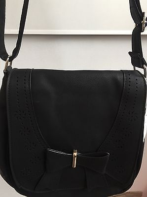 Ladies Fashion Black Suede Leather Bow Buckle Shoulder Cross Body Bag UK