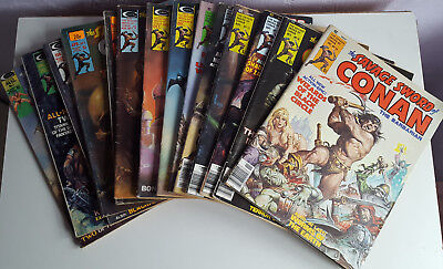 The Savage Sword Of Conan The Barbarian Comics, Issues 1 - 16 (2 Missing).