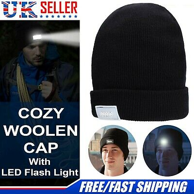 LED Beanie Hat With 5 LED Torch Light One Size Outdoors Camping Joggers Gift UK