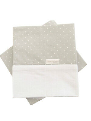 KIDZ KISS Petit Dots Bassinet 2 Piece Sheet Set [Grey / Fits Large Cradle]