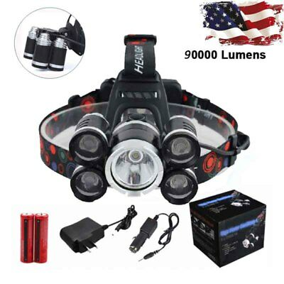 Zoomable 90000LM 5x XM-L T6 LED Rechargeable 18650 USB Headlamp Head Light Sets