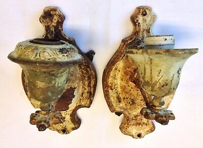 Great Pair Of Vintage Old Shabby Iron Wall Light Fixtures Reclaimed Salvaged