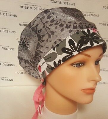 Grey And Pink / Pixie Hat/ Scrub Surgical/ Medical/ Chemo Caps
