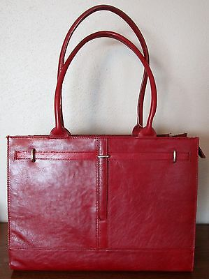 Buxton Genuine Leather Laptop Briefcase Bag - Maroon