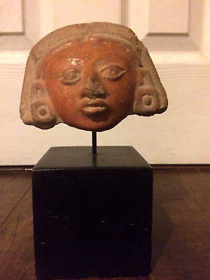 Pre-Columbian Mayan Pottery Head Piece Mounted on a Custom Stand