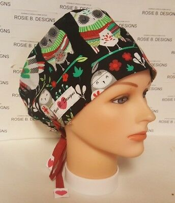 Owls On Christmas Time   /pixie Hat / Scrub / Medical Surgical / Cap /chemo