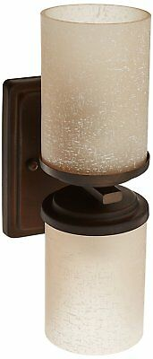 Forte Lighting Wall Sconce with Umber Linen Glass Shades , Antique Bronze