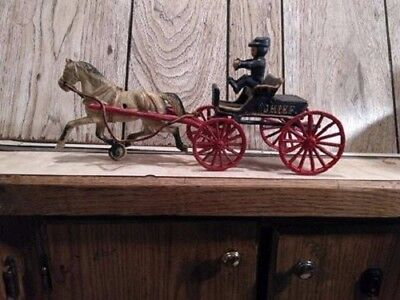 Vintage Cast Iron Toy Replica - Police Chief Horse Drawn Wagon