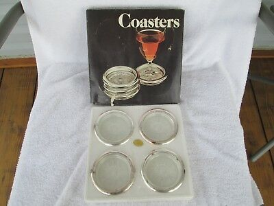 1980 Vintage Leonard Silver Co. Four Piece Coaster Set No.840 Made in Italy