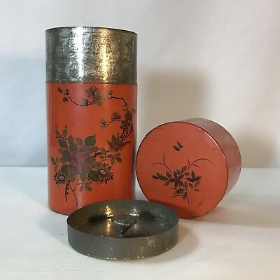 Antique JAPANESE Painted Tin TEA CADDY - Bird and Mountain